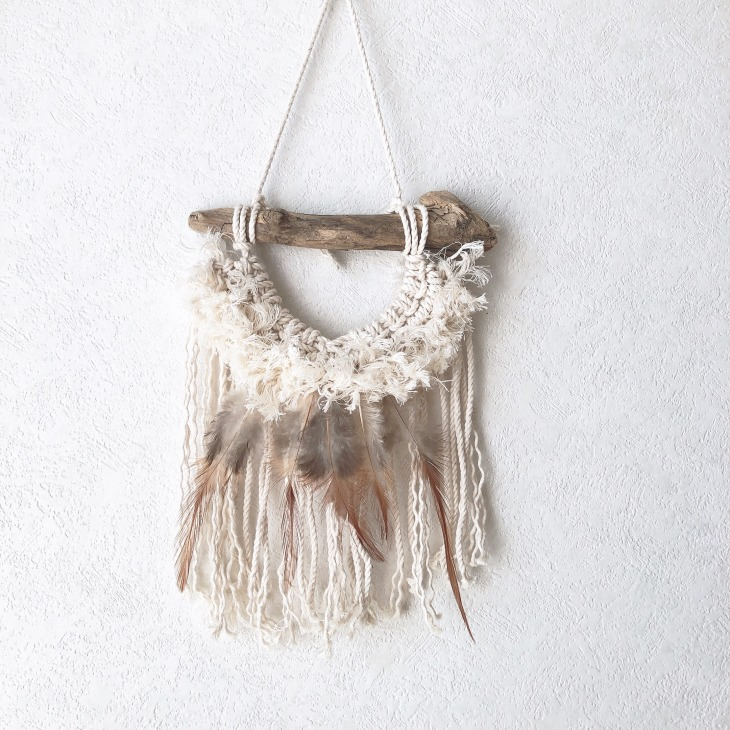 macrame feather mini wall hanging