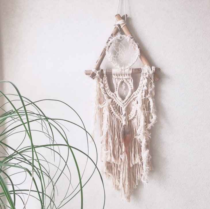 macrame dream catcher wall hanging
