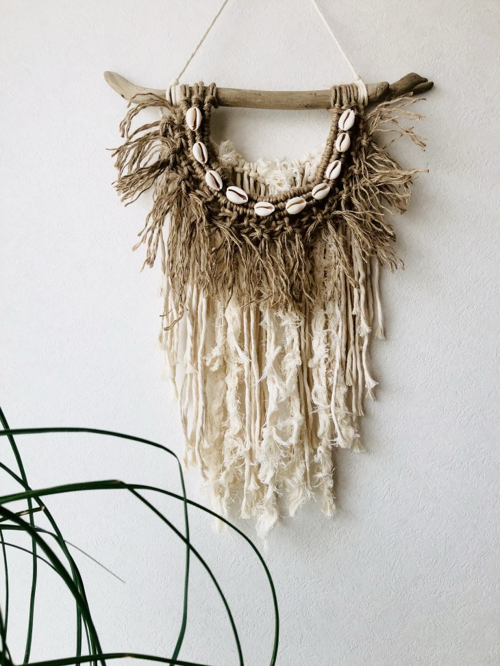 macrame & shell wall hanging